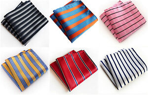 Navy Blue Orange Grey Yellow White Stripe Patterned Pocket Square Handerchief