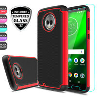 For Motorola Moto G6 Shockproof Hybrid Armor Case Cover With Screen Protector US
