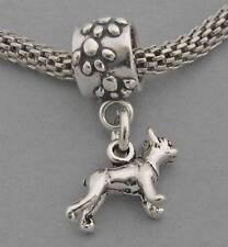 Sterling Silver European Dangle Bead Charm Miniature 3D BOSTON TERRIER DOG 3542