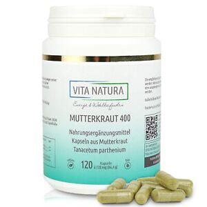 Vita Natura    Mutterkraut 400 mg Kapseln   Vegan   Aus Deutschland   120 Stück