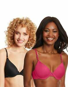 Maidenform Demi Bra 2-Pack One Fab Fit Underwired T-Shirt Stretch Cup Adjustable
