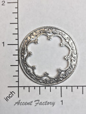 21134- 2 Pc Ornate Victorian Circle Frame Finding Stamping SILVER Ox