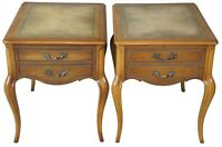 2 French Provincial Tooled Leather Ash Wood Nightstands Side End Accent Tables