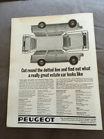 "VINTAGE 1960s PEUGEOT ""CUT OUT"" ORIGINAL ADVERT"