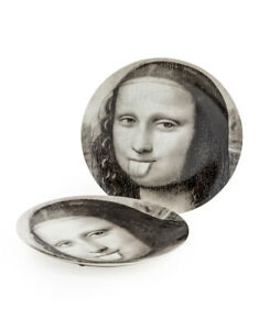 Italian Style MonaLisa Black and White Print Plate Wall Hanging Decorative Plate
