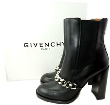 $1475 Givenchy Black Leather Chain-Strap Leather Chelsea Booties  40.5 Boots