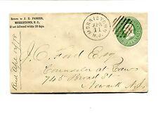 Vintage Advertising Envelope JE PARKER Morristown NJ 1878 U165 jeweler watches