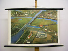 School Wall Picture Nice Old Weser Cross Shipping Minden 75x51cm Vintage Map ~ 1960