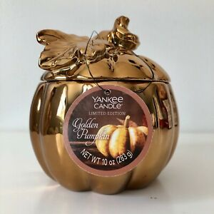 Yankee Candle ~ GOLDEN PUMPKIN  2-Wick Ceramic Candle Limited Edition