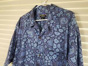 Mens Patagonia Blue Pataloha Vintage S. Sleeve XL Cotton Shirt Button Front