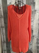 Chicos Crochet Sweater Knit Tank Top Blouse Coral Tunic Size 1/M 8 NWT MSRP $99
