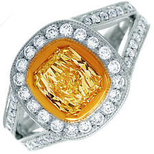 Fancy Yellow 2.50 CT Radiant Cut Diamond Halo Round Shape 18K Gold GIA Certified