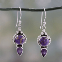 925 Silver Amethyst Drop Dangle Hook Earrings Vintage Engagement Wedding Jewelry