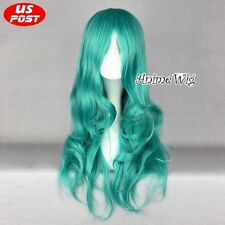 Anime Sailor Moon Neptune Kaiou Michiru Light Green Long Wavy Women Cosplay Wig