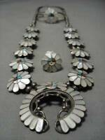 INTRICATE!! VINTAGE ZUNI TURQUOISE CORAL STERLING SILVER SQUASH BLOSSOM NECKLACE