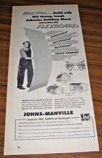 1956 Print Ad Johns-Manville Asbestos Flexboard Building Sheets Farm Use