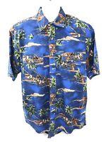Wrangler Mens XL Blue Vintage Western Shirt Short Sleeve Horses Palm Trees