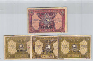 Indochine Lot de quatre billets 10 & 20 Cents ND Pick 89a & 90