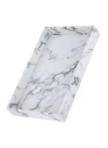 Marble Print Serving Tray PU Leather for Coffee Desserts Classic Rectangle