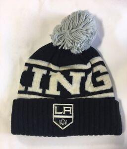 Los Angeles Kings Knit Beanie Toque Winter Hat Cap NHL New Wordmark Cuffed Pom