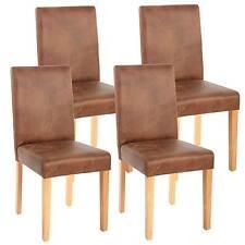4x chaise de séjour Littau, fauteuil ~ tissu, aspect daim marron, pieds clairs