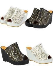 Ladies Womens Hi Wedge Heel Slip On Diamante Evening Mule Sandals Shoes Size 3-8