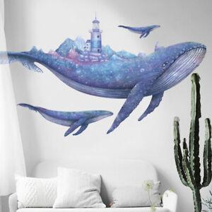 DIY Huge Blue Whale Beacon PVC Vinyl Removable Nursery Mural Decal Wall Sticker