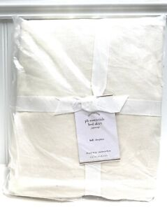 "PB Essential Cotton & Linen Bed Skirt 18"" Drop FULL Off White Cream NEW Sealed"