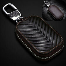 Real Leather Car Remote Key Case Key Chains Zipper Coin Pouch Bag Dark Brown New
