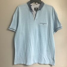 Steel & Jelly London Baby Blue Polo Rugby S/S Shirt Custom Collar Men's Size XL