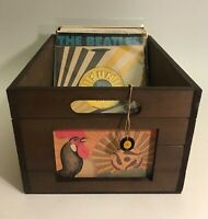 "Exclusive Rooster Wood Record Crate for 7"" 45rpm records / (Holds 100)"