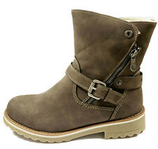 Refresh-72448- Taupe Ankle Boots With Side Zip