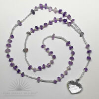Amethyst Crystal Rosary Beads With Faceted Quartz Crystal Heart Casa Brazil