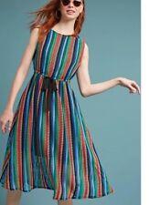 NWT Eva Franco Anthropologie Rainbow Crochet Midi Dress Size 4