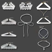 10pcs Punk White Flower Lace Velvet Choker Necklace Chain Collar Fashion Jewelry