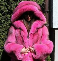 Pelzmantel Echtpelz Pelz Mantel 100% Real Fox Fur Coat Hood Fuchs Fashion Pink