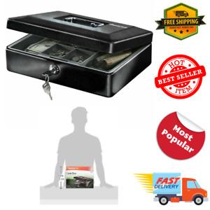 Sentry Safe Black Cash Box w Removable Tray Key Lock Money Files Security
