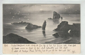 The Drongs Hillswick Shetland Isles 19 Mar 1903 Tuck's Moonlit Sea Newton Horton
