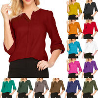 New Women Chiffon T-Shirt 3/4 Sleeve V-neck Blouse Office Lady Tops Solid Casual