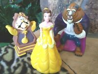 BEAUTY AND THE BEAST AND COGSWORTH SOFT VINYL FIGURINES, B&B MATCHED, F-NM, NEW
