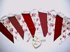 Fabric Bunting Red Ivory Floral Wedding Anniversary Decor 3m - Ravishing Ruby