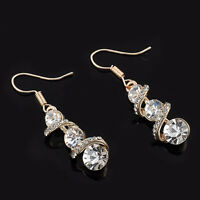 New Women Ear Hook Plated Crystal Rhinestone Stud Fashion Earrings Wedding Party