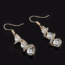 New Women Ear Hook Plated Crystal Rhinestone Stud Fashion Earrings Wedding Party