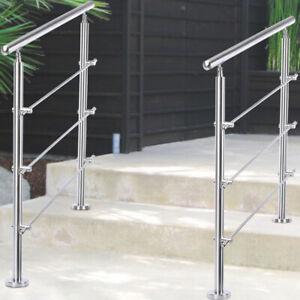 Stainless Steel Handrail Balustrade 3 Cross Bar Home Garden Safety Stair Rail