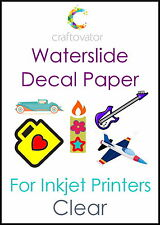 1 Sheet CLEAR Water Slide Decal Paper INKJET A4 Waterslide Transfer Craft Sample