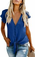 Shawhuwa Womens Button Down V Neck Tops Ruffle Short Sleeve, A Blue, Size Medium