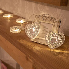 Hot Warm White 10 Metal Heart Led Battery Fairy String Light Xmas Wedding Decor