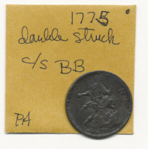 """^^ERROR^^ 1775 DOUBLE STRUCK COLONIAL HALFPENNY (COUNTERSTAMPED """"BB"""") NO RESERVE"""