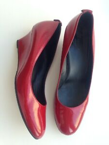 Gucci Woman Shoes Pumps Wedge Red Patent Leather size 39