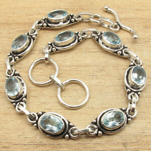 Bracelet Eight Inches !! Collectible BLUE TOPAZ Gemstone Silver Plated Jewelry